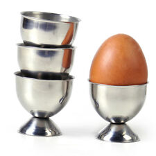 4 x Egg Cups Silver Stainless Steel Soft Boiled Holder Tabletop Cup Kitchen Tool