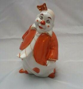 Alte Clown Figur Porzellan handbemalt mit Schmetterling Vintage - für Sammler