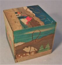 Very Old Small Cube Wood Puzzle from Japan in Original Box