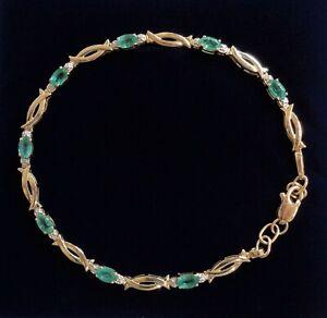 Fine Emerald Bracelet 375 (9ct) Yellow Gold - Length 8in ( 20.32cm)