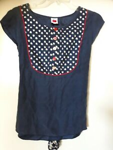 Made 590 Navy Silk Top Blouse, Large 12-14, VGC, button front, strawberry print