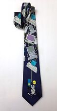 vtg 1990s COMPUTER IMAGES NECK TIE Funny 90s Monitor Mouse Byte Keyboard Printer