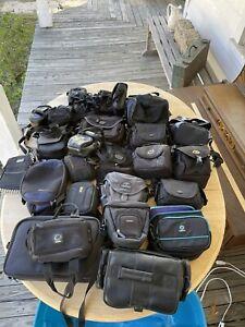 Vintage SONY Black Video Camera Bag, Camcorder Case, Leather with original strap