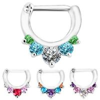 1pc Multi Color Septum Clicker 316L Surgical Steel 16g Nose Ring Pink Clear Red