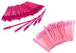 Eyelash Mascara Brush Wands Disposable Eyebrow spoolie Baby Hot Pink UK