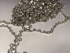 1 Metre Silver Clear Crystal Rhinestone encased in Silver Metal Chain Trim 2mm