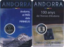 """Andorra 2x 2 Euro Gedenkmünze 2017 """"Pyrenäen + Hymne"""" in Coincard"""