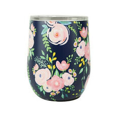 Mary Square Double Wall Insulated Stemless Wine Glass with Lid Portland Floral