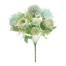 7-Head Artificial Fake Flowers Peony Wedding Floral Bouquet Home White Green