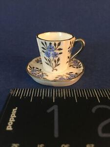 MINIATURE porcelain WEDGWOOD CUP & SAUCER England Fine Bone China,1 inch high