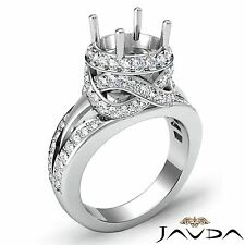 Round Semi Mount 1.3Ct Diamond Engagement Halo Pave Antique Ring 14k White Gold