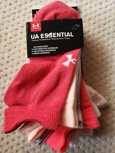 Under Armour Women's UA ESSENTIAL 6 PAIRS No Show Socks, Impulse Pink size 6-9