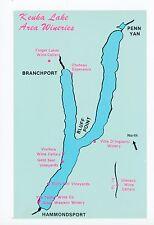 Keuka Lake Wineries—Chrome PC Map Rare—Branchport—Penn Yan—VIneyards