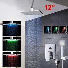 Nuevo techo LED/montado en la pared 12 de pulgada cabeza de ducha de lluvia con Set Pulverizador de mano