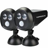 2Pack Waterproof InaRock Outdoor Solar Powered Motion Sensor LED Light Landscape