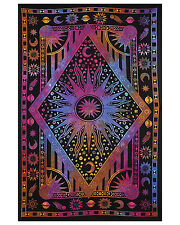Twin Tie Dye Purple Burning Sun Tapestry Celestial Sun Moon Planet Wall Hanging