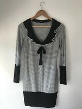 COOPER STREET Wayne Size 10 Sm Dress Black Stripes Grey Stretch Casual Portmans