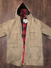 94fafb552ca Vintage Woolrich Plaid Wool Lined mountain Hooded Parka Sz Medium