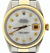 Mens 2Tone Rolex Gold / Stainless Steel Datejust w/White MOP Diamond Dial 1601