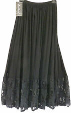 GORGEOUS COTTON  SARAH SANTOS  black LACE TRIM  SKIRT SZ M/L