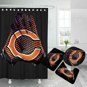 Chicago Bears Bathroom Rugs Set 4PCS Shower Curtain Non-Slip Toilet Lid Cover