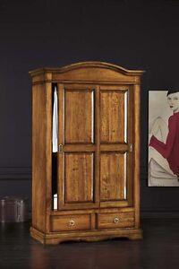 Armadio classico 2 ante scorrevoli in arte povera legno massello camera da letto