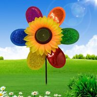 Colorful Sequins Sunflower Windmill Wind Spinner Home Garden Yard Decoration