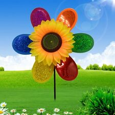 Colorful Sequins Sunflower Windmill Wind Spinner Home Garden Yard Decor HOT