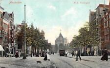 AMSTERDAM NETHERLANDS N.Z. VOORBURGWAL TROLLEY DOG STREET SCENE POSTCARD (c1910)