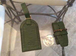 LOUIS VUITTON EPI Line STRAP HOLDER/Address Tag for KEEPALL/BANDOULIERE Green