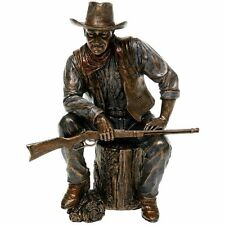 John Wayne Sculpture Sitting On Log with Rifle Statue Figurine - GIFT BOXED