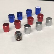 Valve stems caps Red & Blue & Chrome set of 12 pc