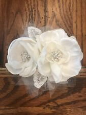 White Satin, Rhinestone, And Tulle Floral Wedding Hairpiece