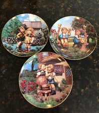 "Three Hummel Little Companions Plates ""Hello Down There"" ""Apple Tree Boy Girl"" """