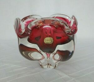 VINTAGE RED BOHEMIA CZECHOSLOVAKIAN HEAVY GLASS BOWL GREAT CONDITION