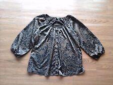 Express,brown & black geometric 3/4 sleeve button down stretch shirt,womens XS
