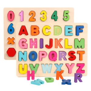 Wooden Wood Alphabets Letter Numbers Jigsaw Puzzle Educational Board Kids Toys