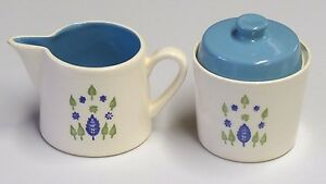 Vintage Sugar and Creamer Set White Ceramic with Blue Made in U.S.A.