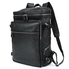 "Men's Leather Backpack Shoulders Bag Tote 15"" Laptop Hiking Bag Rucksack Gift"