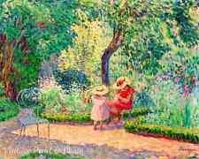 Girls in the Garden by Henri Lebasque Art Flowers Trees Big Hats 8x10 Print 0735