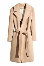 H&M CAMEL BEIGE LONG TIE BELT coat in a wool viscose 2016  SIZE 42 eur 12 us