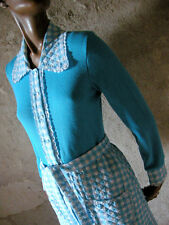 CHIC VINTAGE 70s ROBE DE CHAMBRE VICHY TURQUOISE 1970 SEVENTIES 70'S (36/38)
