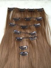"""Marrone Naturale 7 PZ Set Dritto Lungo 20"""" CLIP IN ON Hair Extension HEAT RESIST"""