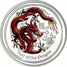 Australia 50 Cents 2012 Proof Coin Lunar Silver Serie II  Year of the Dragon red