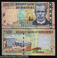 MALAWI 500 KWACHA P56 2011 BOAT ZEBRA AFRICAN ANIMAL CURRENCY MONEY BANK NOTE