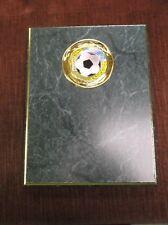 soccer award 7 x 9 green plaque trophy gold foil trim edge