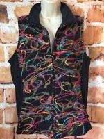 Women's COLDWATER CREEK Black Zip VEST Multi Color Yarn SWIRL Applique Medium