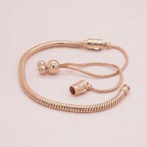 Authentic Pandora Rose Gold Charm Bracelet Sliding Clasp 587125CZ