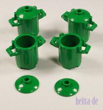 LEGO - 4 x Mülleimer mit Deckel grün / Mülltonne Eimer Tonne 92926 4740 NEUWARE