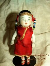 RARE ANTIQUE 1900's CHINA DOLL DOUBLE JOINTED Original Outfit Porcelain 3'' DOLL